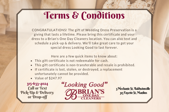 Wedding Dress Preservation Gift Certificate